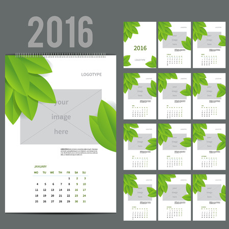 a2: ECO style Wall Monthly Calendar for 2016 Year. Vector Design Print Template with Place for photo.  A3, A2 or bigger. Week Starts Monday. Portrait Orientation. Set of 12 Months and Cover. 13 pages