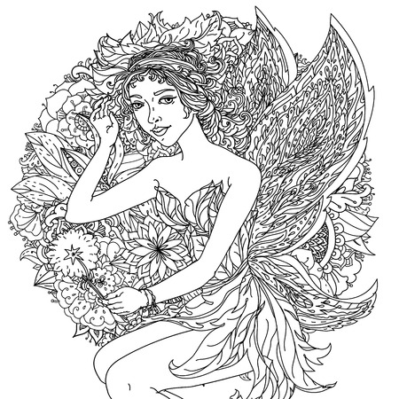 coloring lips: Beautiful fashion woman with  flowers  in the image of a fairy or elf , could be used  for coloring book.  Black and white in zentangle style.