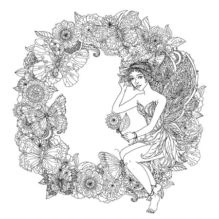 black and white image drawing: Beautiful fashion woman with  flowers  in the image of a fairy or elf , could be used  for coloring book.  Black and white in zentangle style.