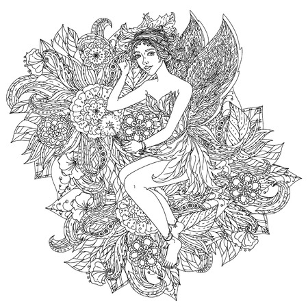 elf: Beautiful fashion woman with  flowers  in the image of a fairy or elf , could be used  for coloring book.  Black and white in zentangle style.