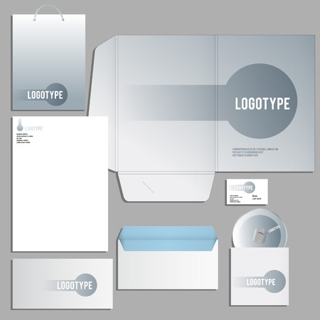 guideline: Gray corporate identity template. Vector company style for brandbook and guideline.