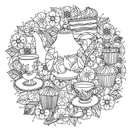 Orient bloemen zwart en wit ornament. Met elementen van tijd voor thee, kopjes, theepot, taart en cupcakes. Zou kunnen worden gebruikt voor het kleuren van boek in zentanglestijl. Stock Illustratie