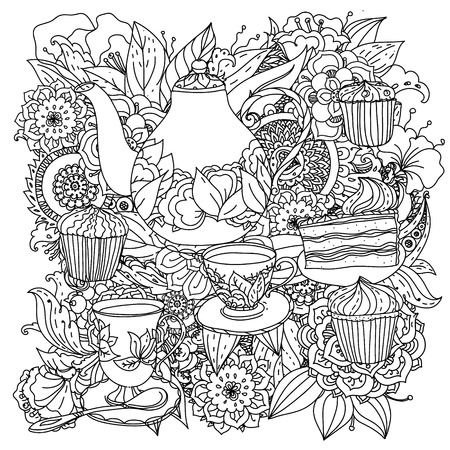 Orient floral black and white  ornament. With elements of time for tea, cups, teapot, cake and cupcakes. Could be use  for coloring book  in zentangle style.