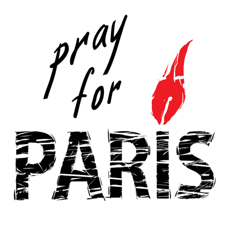 flame letters: phrase Pray for Paris, with a candle for a prayer in the form of letters I with red flame and black letters