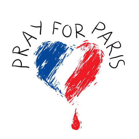 bleeding heart in the colors of the French flag, as a symbol of national mourning, and phrase Pray for Paris,