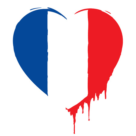 bleeding heart in the colors of the French flag, as a symbol of national mourning