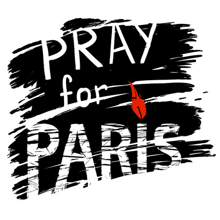 flame letters: phrase Pray for Paris, with a candle for a prayer in the form of letters I with red flame  black background, symbolizing the smoke of explosions Illustration