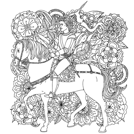 handsome young man: Handsome young man in the image of the prince from a fairy tale, riding on a horse on orient floral black and white ornament Illustration