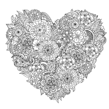 Hand drawing element. Black and white. Flower mandala style. Vector illustration. Vettoriali