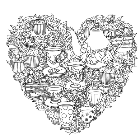 the sweet tooth: elements of time for tea, cups, teapot, cake and cupcakes. Black and white.  Illustration