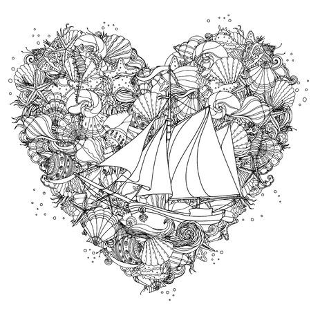 stella marina: A forma di cuore ornamento in bianco e nero di conchiglie, stelle marine, alghe con barca a vela, potrebbe essere utilizzato per libro da colorare con stile. Vettoriali