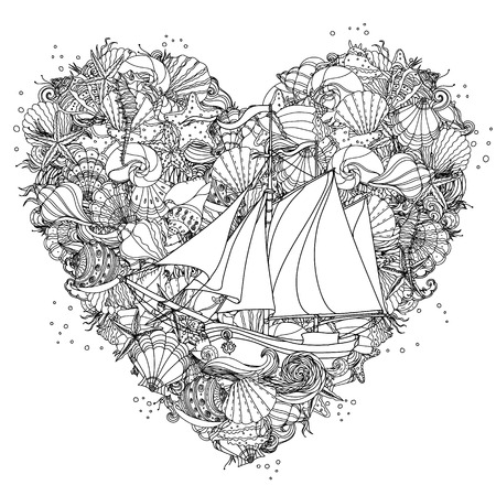 Heart shape black and white  ornament of seashells, starfish, seaweed with sailboat, could be use  for coloring book in style. Illustration