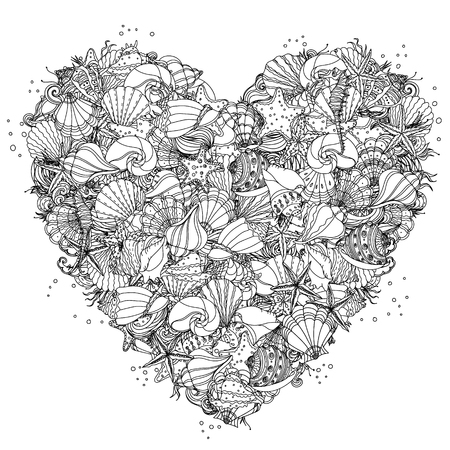 Heart shape black and white  ornament of seashells, starfish, seaweed, could be use  for coloring book in style. 일러스트