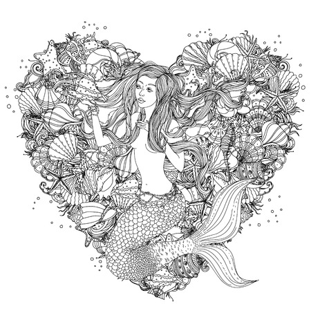 stile: Bella donna di modo con elementi di conchiglie, stelle marine, alghe nella immagine di una sirena a forma di cuore di fondo, potrebbe essere utilizzato per la colorazione libro.