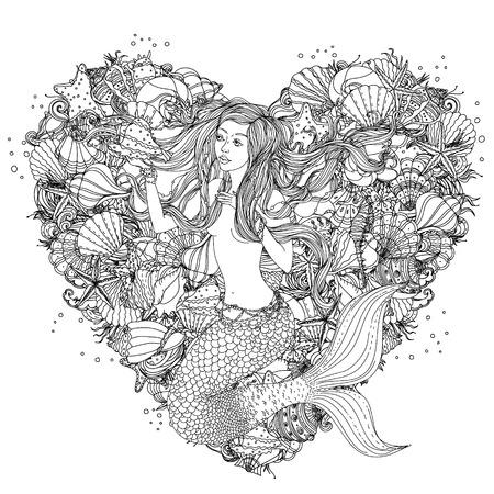 Mooie mode vrouw met elementen van schelpen, zeesterren, zeewier in het beeld van een zeemeermin op het hart vorm achtergrond, kan worden gebruikt voor kleurboek.