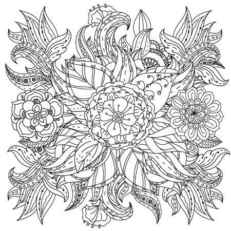 mandala vector: Hand drawing elements. Black and white. Flower mandala style. Vector illustration. The best for your design, textiles, posters, tattoos, corporate identity, coloring book