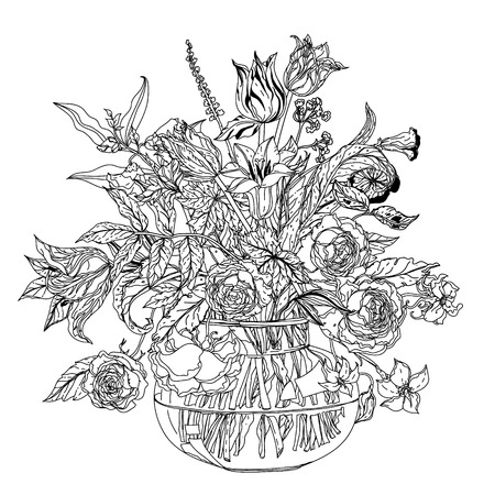 Still life with flowers in the style of the old Dutch masters in interpretation. Black and white. Stock Illustratie