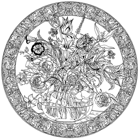 natura morta con fiori: Still life with flowers, style of the old Dutch masters, luxurious frame. Black and white. The best for your design, textiles, posters, coloring book