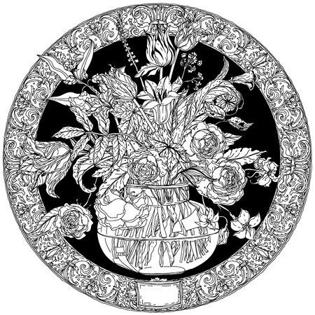 life style: Still life with flowers, style of the old Dutch masters, luxurious frame. Black and white. The best for your design, textiles, posters, coloring book