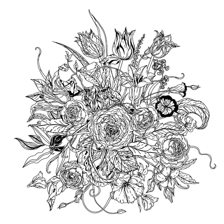 natura morta con fiori: Still life with flowers in the style of the old Dutch masters in interpretation. Black and white. The best for your design, textiles, posters, coloring book
