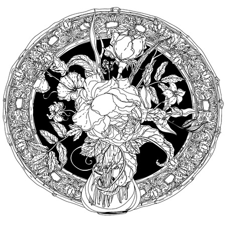 natura morta con fiori: Still life with flowers, style of the old masters, luxurious frame. Black and white. The best for your design, textiles, posters, coloring book