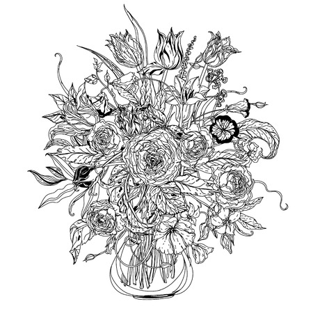 life style: Still life with flowers in the style of the old Dutch masters in interpretation. Black and white. Illustration