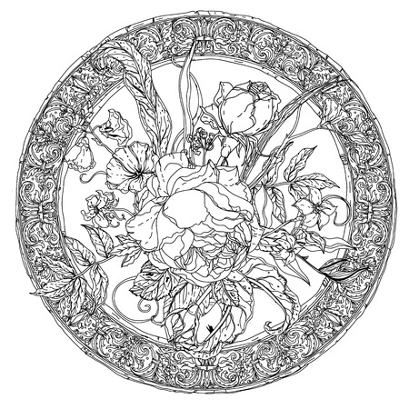 Still life with flowers, style of the old masters, luxurious frame. Black and white. The best for your design, textiles, posters, coloring book