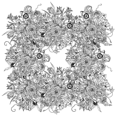 Frame with flowers and a butterfly. Black and white. The best for your design, textiles, posters, coloring book