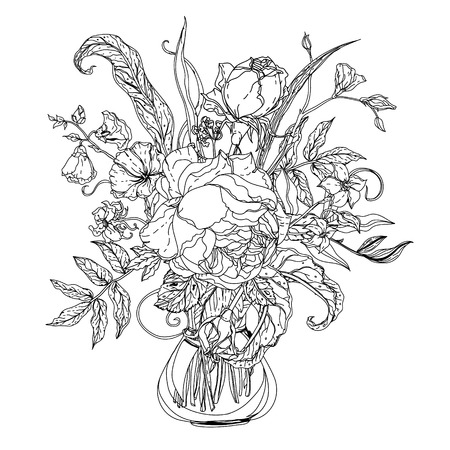 life style people: Still life with flowers in the style of the old Dutch masters in interpretation. Black and white. The best for your design, textiles, posters, coloring book