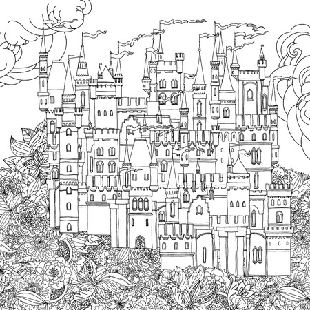 black carpet: Decorative ornamental castle from a fairy tale, on orient floral black and white ornament. Vector illustration. The best for your design, textiles, posters, coloring book Illustration