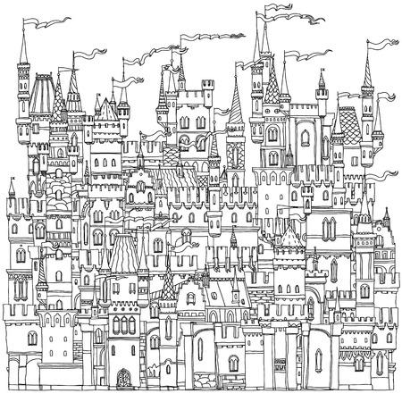 Decoratieve versiering kasteel uit een sprookje. Vector illustratie. Het beste voor uw ontwerp, textiel, posters, kleurboek Stock Illustratie