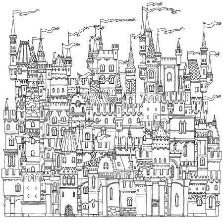 colouring: Decorative ornamental castle from a fairy tale. Vector illustration. The best for your design, textiles, posters, coloring book