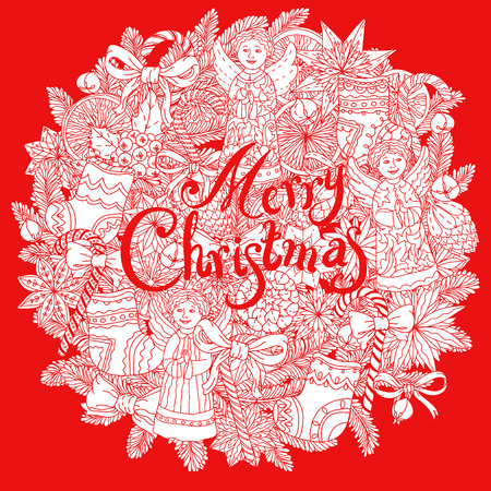 decorative items: Christmas vignette  with decorative items, hand-drawing includes text Merry Christmas