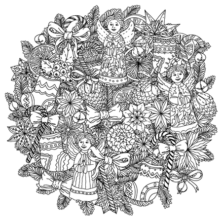 decorative items: Circle Christmas ornament with decorative items, Black and white. The best for your design, textiles, posters, coloring book Illustration