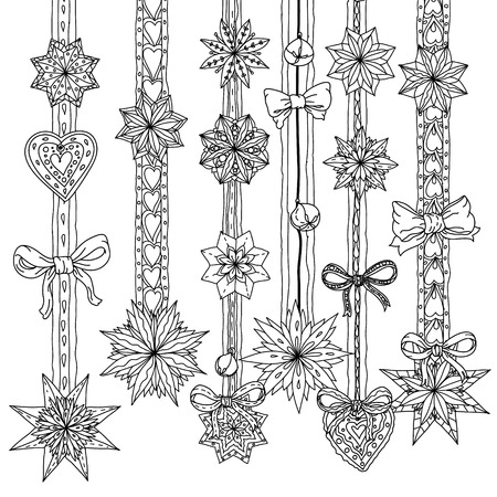 Christmas decorative items, Black and white. The best for your design, textiles, posters, coloring book Vettoriali