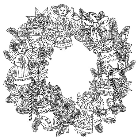 decorative items: Christmas wreath with decorative items, Black and white. The best for your design, textiles, posters, coloring book Illustration