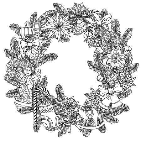 Christmas wreath with decorative items, Black and white. The best for your design, textiles, posters, coloring book Vettoriali