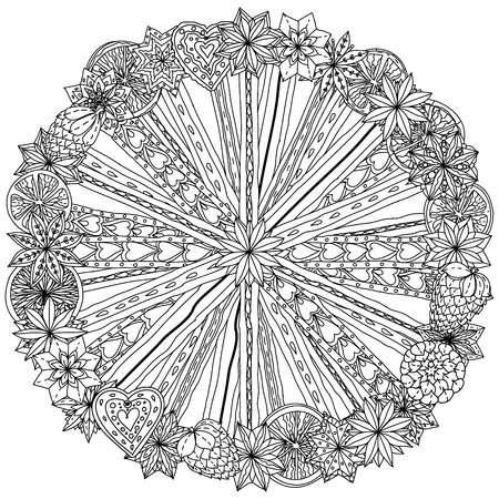 items: Circle Christmas  ornamen with decorative items, Black and white. The best for your design, textiles, posters, coloring book Illustration