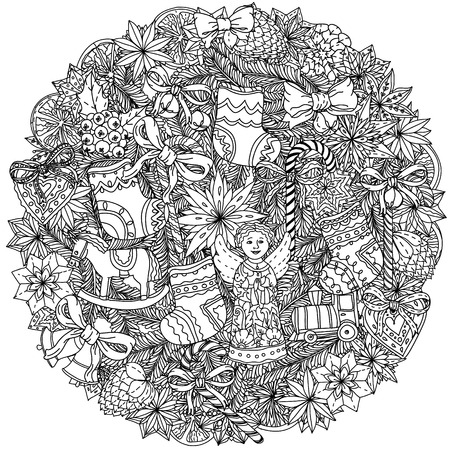 Christmas wreath with decorative items, Black and white . The best for your design, textiles, posters, coloring book Stock Illustratie