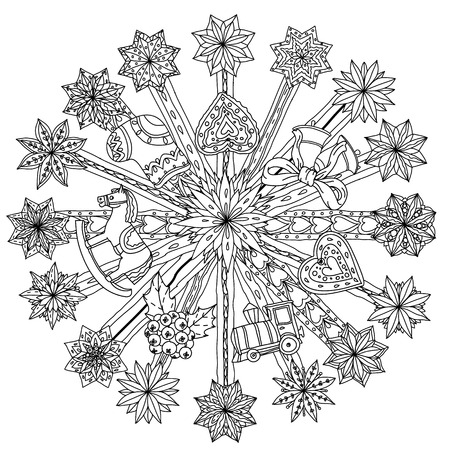 floral background: Circle Christmas  ornamen with decorative items, Black and white .  The best for your design, textiles, posters, coloring book Illustration