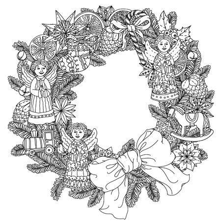 items: Christmas wreath with decorative items, Black and white .  The best for your design, textiles, posters, coloring book