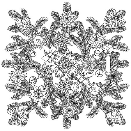japanise: Art mandala style christmas ornamen with decorative items, Black and white . The best for your design, textiles, posters, coloring book