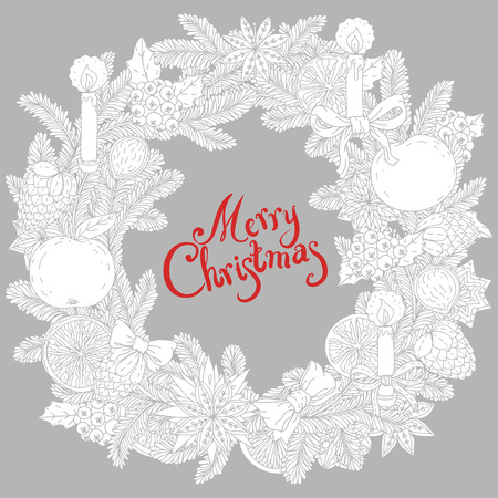 decorative items: Christmas wreath  with decorative items, hand-drawing includes text Merry Christmas Illustration