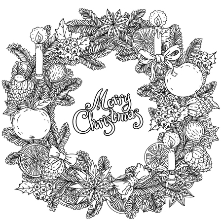 japanise: Christmas wreath  with decorative items, hand-drawing includes text Merry Christmas. Black and white .  The best for your design, textiles, posters, coloring book
