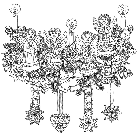 decorative items: Christmas decorative items, Black and white . The best for your design, textiles, posters, coloring book