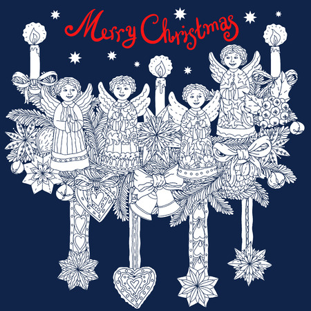 includes: Christmas vignette  with decorative items, hand-drawing includes text Merry Christmas