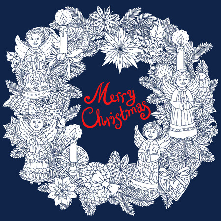 decorative items: Christmas wreath with decorative items, hand-drawing includes text Merry Christmas