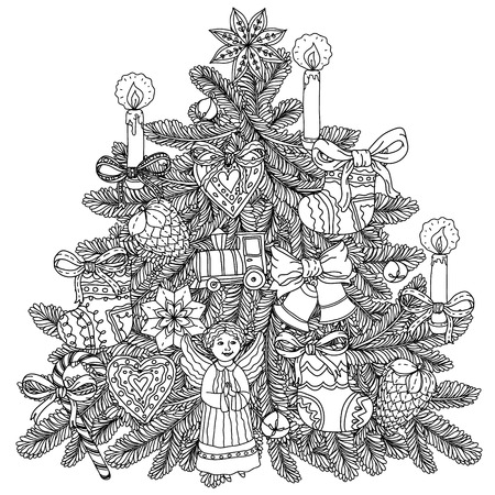 Christmas tree ornament with decorative items, Black and white .  The best for your design, textiles, posters, coloring book
