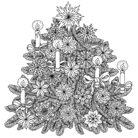 Christmas tree ornament with decorative items, Black and white. The best for your design, textiles, posters, coloring book Stock Illustratie
