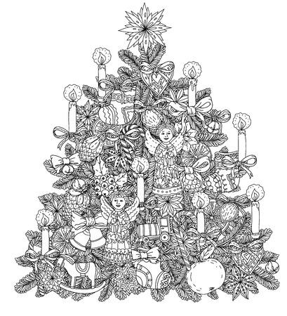Kerstboom met decoratieve objecten, zwart en wit. Het beste voor uw ontwerp, textiel, posters, kleurboek Stock Illustratie